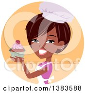 Clipart Of A Pretty Black Baker Woman Holding Up A Cupcake Royalty Free Vector Illustration by Monica #COLLC1383588-0132