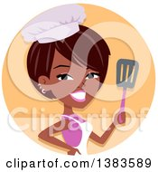 Clipart Of A Pretty Black Baker Woman Holding Up A Spatula In An Orange Circle Royalty Free Vector Illustration