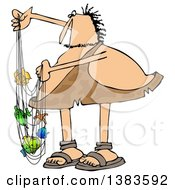 Clipart Of A Chubby Caveman With Colorful Fish In A Net Royalty Free Illustration