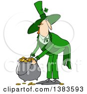 Clipart Of A Cartoon St Patricks Day Leprechaun Picking Up A Pot Of Gold Royalty Free Vector Illustration by Dennis Cox