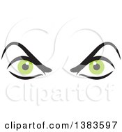 Clipart Of A Pair Of Angry Green Eyes Royalty Free Vector Illustration by Johnny Sajem