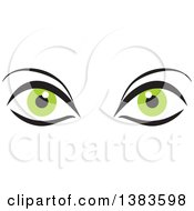 Clipart of a Pair of Green Eyes - Royalty Free Vector Illustration by Johnny Sajem