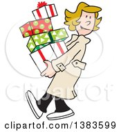 Clipart Of A Cartoon Blond Caucasian Woman Carrying Christmas Gifts Royalty Free Vector Illustration