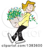 Clipart Of A Cartoon Blond Caucasian Woman Carrying A Box Of Christmas Lights Royalty Free Vector Illustration