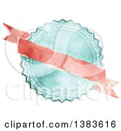Clipart Of A Retro Red And Blue Styled Badge Seal Label With A Blank Ribbon Banner Royalty Free Vector Illustration