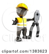 Clipart Of A 3d Black Man Contractor Holding Linesman Pliers On A White Background Royalty Free Illustration by KJ Pargeter