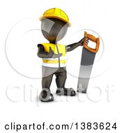 Clipart Of A 3d Black Man Contractor Holding A Saw On A White Background Royalty Free Illustration by KJ Pargeter