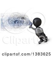 Clipart Of A 3d Black Man Using A Megaphone With An Explosion On A White Background Royalty Free Illustration