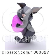 Clipart Of A 3d Cute Gray Bunny Rabbit Carrying An Easter Egg On A White Background Royalty Free Illustration by KJ Pargeter