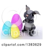 Clipart Of A 3d Cute Gray Bunny Rabbit With Easter Eggs On A White Background Royalty Free Illustration