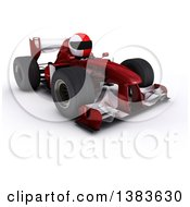 3d White Man Driver In A Forumula One Race Car On A White Background