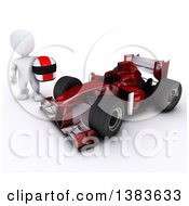 3d White Man Driver Holding A Helmet By A Forumula One Race Car On A White Background