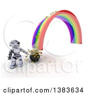 3d Silver Robot At The End Of A Rainbow And Pot Of Gold With Coins Spilling Out On A White Background