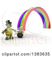 Clipart Of A 3d Tortoise At The End Of A Rainbow And Pot Of Gold With Coins Spilling Out On A White Background Royalty Free Illustration