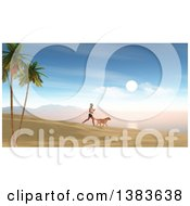 Clipart Of A 3d Silhouetted Fit Woman Jogging With Her Dog At Sunrise On A Beach Royalty Free Illustration