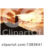3d Lighthouse On A Bluff Shining A Beam Out Against A Sunset Sky