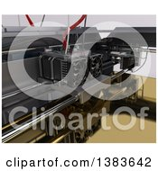 Clipart Of A Closeup Of A 3d Printer Royalty Free Illustration