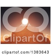Clipart Of A 3d Rock Formation With Cluffs Against A Sunset Royalty Free Illustration by KJ Pargeter