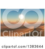 Clipart Of A 3d Desert Landscape With Dunes And Rock Formations At Sunset Royalty Free Illustration by KJ Pargeter