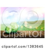 Clipart Of A 3d Wood Table With Green Floral Easter Eggs Against A Hilly Spring Landscape And Sun Flares Royalty Free Illustration