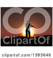 Clipart Of A 3d Silhouetted Soldier With A Rifle In Hand Against A Sunset Royalty Free Illustration by KJ Pargeter