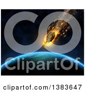 Clipart Of A 3d Asteroid Hurtling Towards A Fictional Planet Royalty Free Illustration