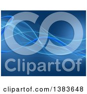 Clipart Of A Blue Background With Flowing Waves Royalty Free Illustration