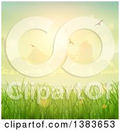 Clipart Of A Background Of Green Grasses Sunrise Trees And Flying Birds Royalty Free Vector Illustration by KJ Pargeter