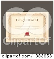 Clipart Of A Certificate Template With Sample Text Over Brown Royalty Free Vector Illustration by KJ Pargeter