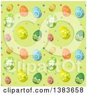 Clipart Of A Seamless Background Pattern Of Easter Eggs On Green With Polka Dots Royalty Free Vector Illustration