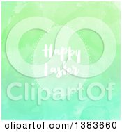 Clipart Of A Happy Easter Greeting On An Egg Frame Over Green Watercolor Paint Texture Royalty Free Vector Illustration