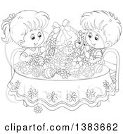 Black And White Lineart Children And A Cat Admiring Easter Eggs And A Basket At A Table