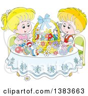 Blond White Children And A Cat Admiring Easter Eggs And A Basket At A Table