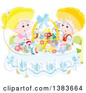 Blond Caucasian Children And A Cat Admiring Easter Eggs And A Basket At A Table