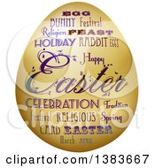 Clipart Of A Gold Easter Egg With Fancy Text Royalty Free Vector Illustration