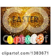 3d Golden Mosaic Background With Easter Text And Patterned Eggs
