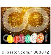 Clipart Of A 3d Golden Mosaic Background With Easter Eggs Royalty Free Vector Illustration