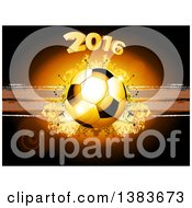 3d Football Or Soccer Ball With Year 2016 Over Grunge And Dots On Brown With Flares