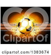 Clipart Of A 3d Football Or Soccer Ball Over Grunge And Dots On Brown With Flares Royalty Free Vector Illustration
