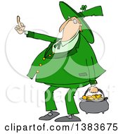 Clipart Of A Cartoon Chubby St Patricks Day Leprechaun Carrying A Pot Of Gold And Flipping The Bird With His Middle Finger Royalty Free Vector Illustration