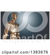 Clipart Of A 3d Gold Man On A Blue Background Royalty Free Illustration by Julos