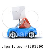 Clipart Of A 3d Red Bird Driving A Convertible Car On A White Background Royalty Free Illustration