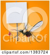 Clipart Of A 3d Mosquito On An Orange Background Royalty Free Illustration