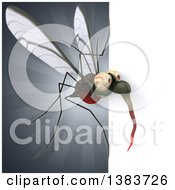 Clipart Of A 3d Mosquito On A Gray Background Royalty Free Illustration