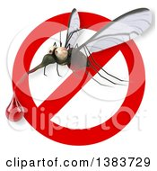 Clipart Of A 3d Mosquito On A White Background Royalty Free Illustration by Julos
