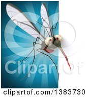 Clipart Of A 3d Mosquito On A Blue Background Royalty Free Illustration