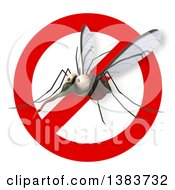 Clipart Of A 3d Mosquito On A White Background Royalty Free Illustration