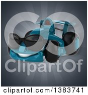 Clipart Of A 3d Blue Race Car On A Gray Background Royalty Free Illustration by Julos