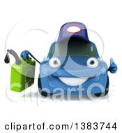 Clipart Of A 3d Blue Mechanic Porsche Car Giving A Thumb Up And Holding A Gas Can On A White Background Royalty Free Illustration