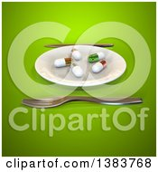 Clipart Of A 3d Plate With Diet Pills And Silverware On A Green Background Royalty Free Illustration by Julos